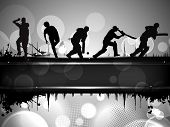 stock photo of cricket  - Silhouettes of a cricket batsman and bowlers in playing action on abstract background - JPG