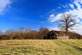 Abandoned Barn Blue Sky