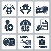 Vector Insurance Icons Set: Family Insurance, Home Insurance,auto Insurance, Life Insurance, Deposit