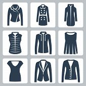 Vector Women's Clothes Icons Set: Jacket, Overcoat, Down-padded Coat, Vest, Sweatshirt, Blouse, Top,