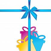 Gift bow with gift box shape isolated