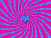 Abstract Sunburst in Pink with Blue Glitter Spirals & Heart