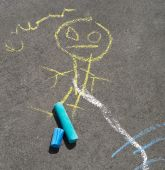 Drawing On The Sidewalk With Chalk