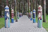 Entrance To The Park With Wooden Sculptures Of Knights