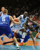 KAPOSVAR, HUNGARY �¢�?�? OCTOBER 26: Wayne Chism (in white) in action at a Hungarian Championship basketball game with Kaposvar (white) vs. Fehervar (blue) on October 26, 2013 in Kaposvar, Hungary.