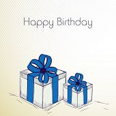 Happy Birthday, greeting card or invitation card with gift boxes wrapped in blue ribbons.