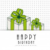 Happy Birthday, greeting card or invitation card with gift boxes wrapped by green ribbons on dotted