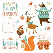 stock photo of owls  - Set of Christmas graphic elements - JPG