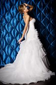 Full length portrait of a beautiful charming bride in a luxurious dress.