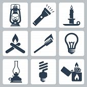 Vector Light And Lighting Appliances Icons Set: Lantern, Flashlight, Candle, Bonfire, Torch, Bulb, H