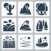 Vector Nature Icons Set: Desert, Mountains, Forest, Meadow, Snow-covered Mountains, Conifer Forest,