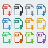 stock photo of informatics  - Vector file extensions icons set - JPG