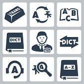 stock photo of glossary  - Vector isolated translation and dictionary icons set - JPG