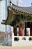 part of the building in a Korean traditional park