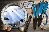 stock photo of spearfishing  - Porthole with sea abyss landscape on wooden floor with sand seashells flippers snorkel and mask for diving and spear gun - JPG