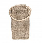 Hessian sack textile bag on white background.