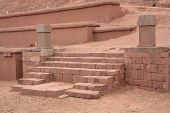 Stairs of Pyramid Akapana at ancient Tiwanaku Ruins, Bolivia