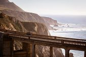 stock photo of bixby  - A view of Bixby Bridge out to the Pacific Ocean near Big Sur California USA - JPG