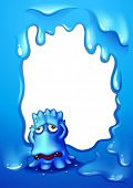 Illustration of a blue template with a frustrated blue monster