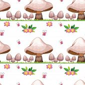 Illustration of the seamless design with mushrooms and butterflies on a white background