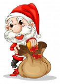 Illustration of Santa Claus with a brown sack on a white background