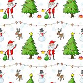 Illustration of a seamless christmas template with Santa Claus and christmas trees on a white background