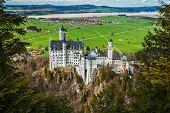 Famous Bavarian landmark - Neuschwanstein Castle (Schloss Neuschwanstein). Bavaria, Germany