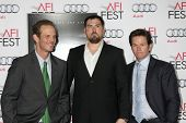 LOS ANGELES - NOV 12:  Peter Berg, Marcus Luttrell, Mark Wahlberg at the
