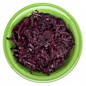 pickled red beets, dulse and kale in a ceramic bowl isolated on white