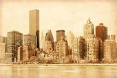 Old style photo of lower Manhattan in New York.
