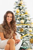 Portrait Of Smiling Young Woman Sitting Near Christmas Tree
