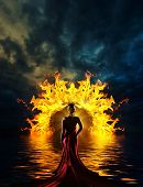 Woman at hell's door dramatic background