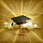 Graduation cap and diploma, old style vector background