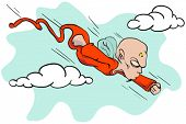 cartoon illustration of little devil flying at top speed