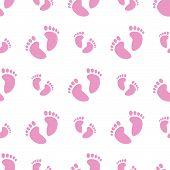Seamless Baby Feet Background (Girl)