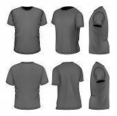 Photo-realistic vector illustration. All six views men's black short sleeve t-shirt design templates (front, back, half-turned and side views). . Illustration contains gradient mesh.