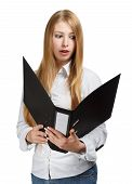 Surprised Young Business Woman With Black Folder On White Background