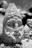 Black and white photo of head statue from Nemrut mountain. Turkey