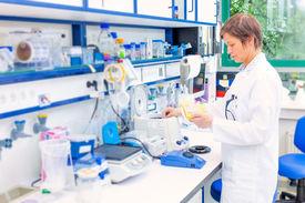 foto of chemistry technician  - technician in the microbiology laboratory - JPG