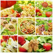 a collage of different salads, such as pasta salad, and eggs mimosa