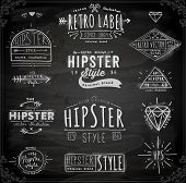 Hipster Style Vintage Elements and Icons Set for Retro Design. Chalkboard Variant.