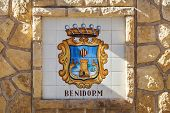 Crest For Benidorm, Costa Blanca, Spain - April 2014.