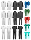 Set of overalls with worker. Design template. Vector illustration.