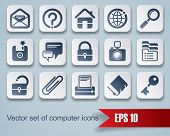 Vector set of square website and internet icons with red ribbon. Easy to edit, manipulate, resize or