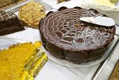Iced chocolate cake and other sweets