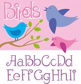 card with birds and alphabet letters
