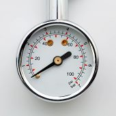 stock photo of air pressure gauge  - Close up tire - JPG