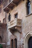 VERONA, ITALY - JANUARY 1, 2013: The balcony of Casa di Giulietta, Juliet's house where Shakespeare'