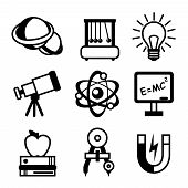 Science Icon Set Black & White