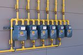 Residential Gas Energy Meters Row Supply Plumbing